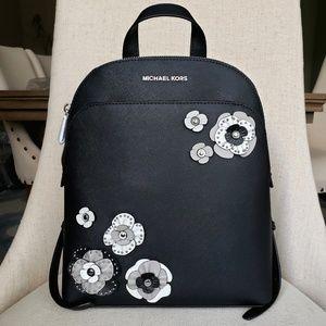 NWT Michael Kors LG Emmy floral backpack Black bag
